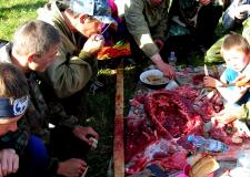 Surovo meso severnega jelena in plastenke